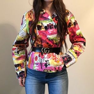 Vintage French Funky Paint Inspo Artsy Jacket H